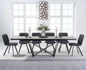 Blenheim 180cm White Ceramic Dining Table with Dexter Faux Leather Chairs - Grey, 6 Chairs