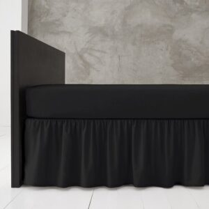 Block 144 Thread Count Valance Marlow Home Co. Bed Size: Single (3'), Colour: Black