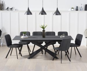 Boston 180cm Grey Stone Extending Dining Table with Dexter Faux Leather Chairs - Grey, 6 Chairs
