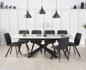 Boston 180cm White Ceramic Extending Dining Table with Dexter Faux Leather Chairs - Grey, 6 Chairs