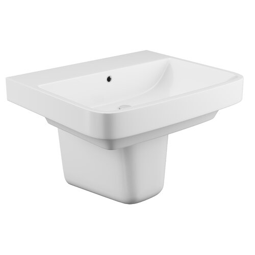 Ceramic Rectangular 555 mm Semi Pedestal Basin Belfry Bathroom