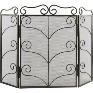 Christie 3 Panel Wrought Iron Fireplace Screen Rosalind Wheeler