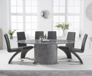 Colby 200cm Oval Grey Marble Dining Table with Hampstead Chairs - Ivory, 6 Chairs