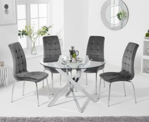Denver 120cm Glass Dining Table with Calgary Velvet Chairs - Green, 4 Chairs