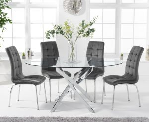 Denver 165cm Oval Glass Dining Table with Calgary Velvet Chairs - Green, 6 Chairs
