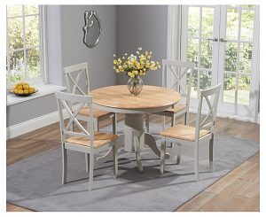 Ex-Display Epsom Oak and Grey Pedestal Extending Dining Table Set with 4 Chairs