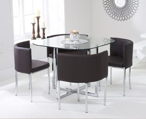 Ex-display Algarve Glass Stowaway Dining Table with Brown High Back Stools