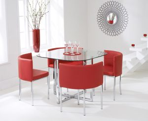 Ex-display Algarve Glass Stowaway Dining Table with Red High Back Stools