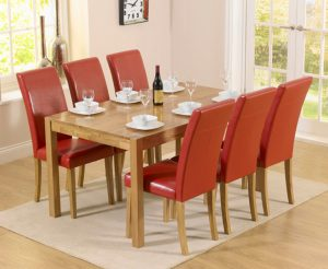 Ex-display Oxford 150cm Solid Oak Dining Table with 4 RED Albany Red Chairs