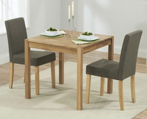 Ex-display Oxford 80cm Solid Oak Dining Table with 2 BROWN Mia Fabric Chairs