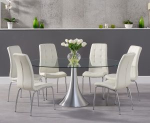 Ex-display Paloma 180cm Oval Glass Dining Table with 4 BLACK Calgary Chairs