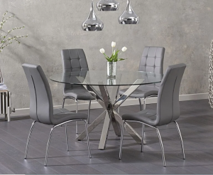 Ex-display Rio Round Glass Dining Table with 4 GREY Calgary Chairs