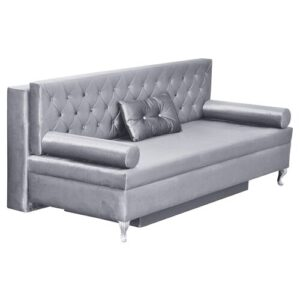 Glamour 3 Seater Sofa Bed Happy Barok Upholstery Colour: Grey