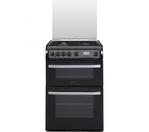 HOTPOINT DSG60K 60 cm Gas Cooker - Black & Stainless Steel, Stainless Steel