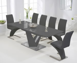Harmony 160cm Extending Dark Grey High Gloss Dining Table with Hampstead Z Chairs - Ivory, 6 Chairs