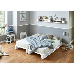 Howard Bed Frame Mercury Row Bed surface area: 90cm x 200cm, Colour: White, Mattress Included: Yes
