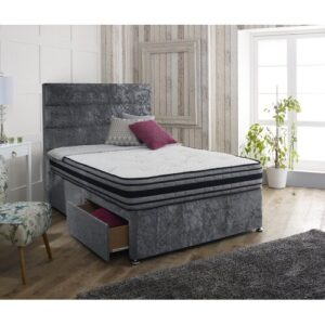 Hyde Upholstered Divan Bed and Headboard Rosdorf Park Colour: Glitz Grey, Size: Single (3'), Storage Type: 4 Drawers
