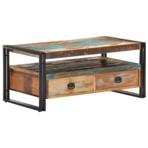 Jamie Coffee Table with Storage Borough Wharf Table Top Colour: Golden Oak/Blue