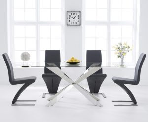 Juniper 160cm Glass Dining Table with Hampstead Z Chairs - Ivory, 4 Chairs