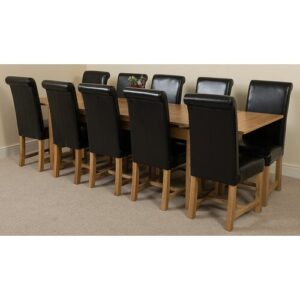 Kenia Dining Set with 10 Chairs Rosalind Wheeler Colour (Chair): Brown