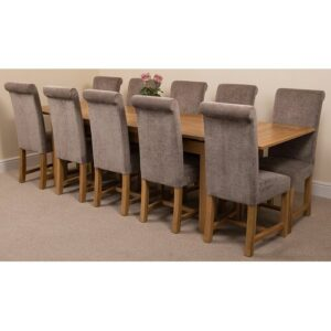 Kenia Dining Set with 10 Chairs Rosalind Wheeler Colour (Chair): Grey