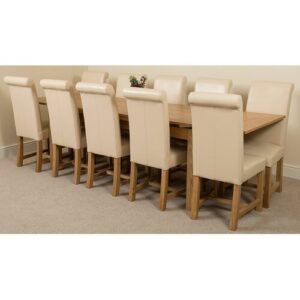 Kenia Dining Set with 10 Chairs Rosalind Wheeler Colour (Chair): Ivory