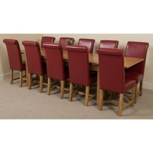 Kenia Dining Set with 10 Chairs Rosalind Wheeler Colour (Chair): Red