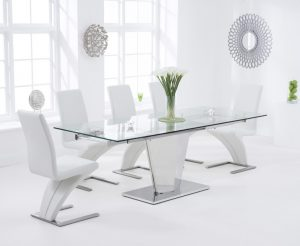 Liberty 160cm Extending Glass Dining Table with Hampstead Z Chairs - Ivory, 4 Chairs