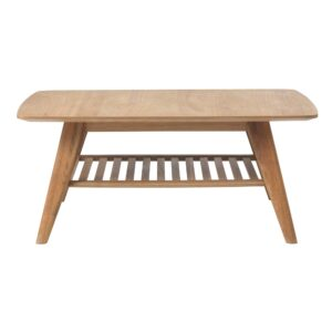 Lund Coffee Table with Shelf, Natural Oak