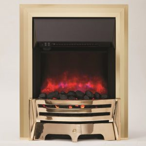 Mayfair Inset Electric Fireplace BeModern Finish: Brass