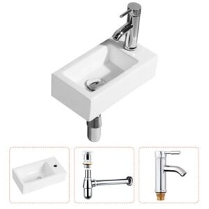 Nicoletti Ceramic Wall Hung Basin with Tap Belfry Bathroom
