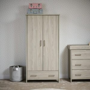 Nika 2 Door Wardrobe Obaby Finish: Grey Wash