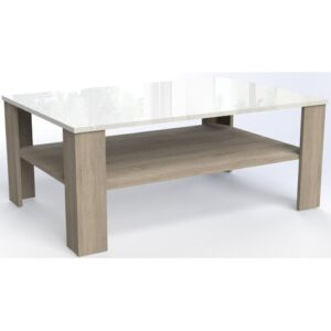 Polen Coffee Table Mercury Row Colour: Light brown/High-gloss white