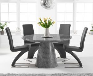 Ravello 130cm Round Grey Marble Dining Table with Hampstead Chairs - Ivory, 4 Chairs