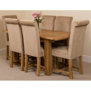Riback Kitchen Dining Set with 6 Chairs Rosalind Wheeler Colour (Chair): Beige