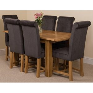 Riback Kitchen Dining Set with 6 Chairs Rosalind Wheeler Colour (Chair): Black