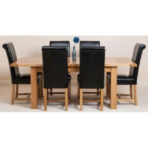 Sairsingh Kitchen Solid Oak Dining Set with 6 Chairs Rosalind Wheeler Colour (Chair): Black