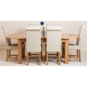 Sairsingh Kitchen Solid Oak Dining Set with 6 Chairs Rosalind Wheeler Colour (Chair): Ivory