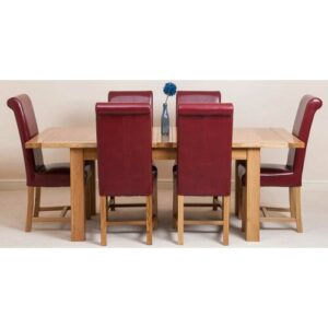 Sairsingh Kitchen Solid Oak Dining Set with 6 Chairs Rosalind Wheeler Colour (Chair): Red