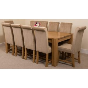 Stainbrook Chunky Kitchen Dining Set with 10 Chairs Rosalind Wheeler Colour (Chair): Beige