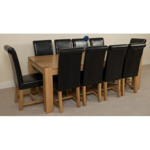 Stainbrook Chunky Kitchen Dining Set with 10 Chairs Rosalind Wheeler Colour (Chair): Black