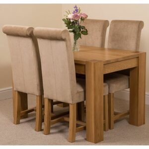Stainbrook Chunky Kitchen Dining Set with 4 Chairs Rosalind Wheeler Colour (Chair): Beige