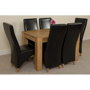Stainbrook Chunky Kitchen Dining Set with 6 Chairs Rosalind Wheeler Colour (Chair): Black, Table Size: 77cm H x 125cm L x 80cm W