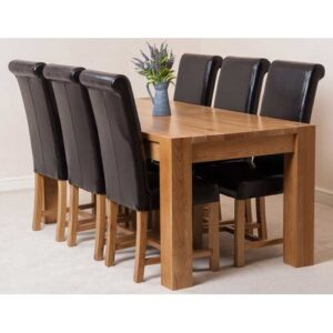 Stainbrook Chunky Kitchen Dining Set with 6 Chairs Rosalind Wheeler Colour (Chair): Brown, Table Size: 77cm H x 180cm L x 90cm W