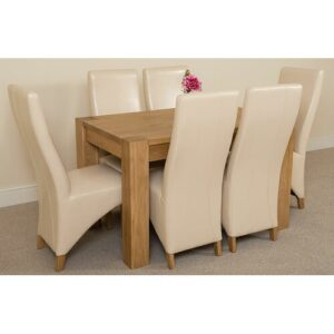 Stainbrook Chunky Kitchen Dining Set with 6 Chairs Rosalind Wheeler Colour (Chair): Ivory, Table Size: 77cm H x 125cm L x 80cm W