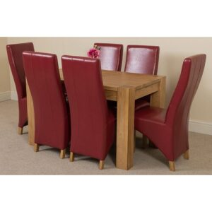 Stainbrook Chunky Kitchen Dining Set with 6 Chairs Rosalind Wheeler Colour (Chair): Red, Table Size: 77cm H x 125cm L x 80cm W