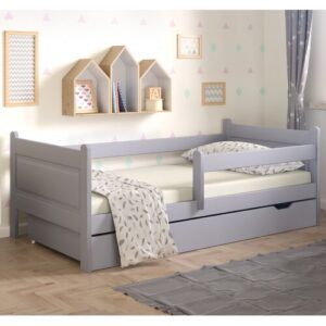 Toddler Bed with Drawer Nordville Size: European Toddler (80 x 160cm), Colour (Bed Frame): Grey