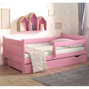 Toddler Bed with Drawer Nordville Size: European Toddler (80 x 160cm), Colour (Bed Frame): Pink