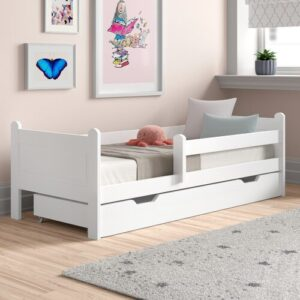 Toddler Bed with Drawer Nordville Size: European Toddler (80 x 160cm), Colour (Bed Frame): White