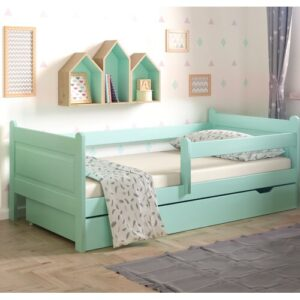 Toddler Bed with Drawer Nordville Size: European Toddler (80 x 180cm), Colour (Bed Frame): Turquoise